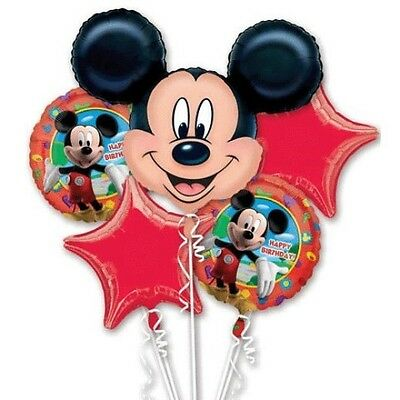 5 Piece Mickey Mouse Birthday Foil Mylar Balloon Bouquet Party Decorating Suppli - Mickey Mouse Balloon Decorations