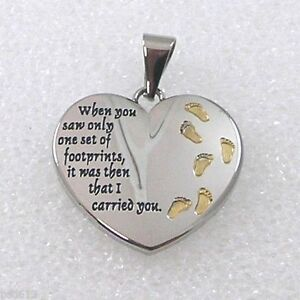 Footprints In the Sand Two-Tone Heart Pendant with Chain