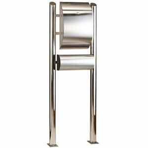 european free standing stainless steel mailbox letterbox post mail 55 height ebay. Black Bedroom Furniture Sets. Home Design Ideas