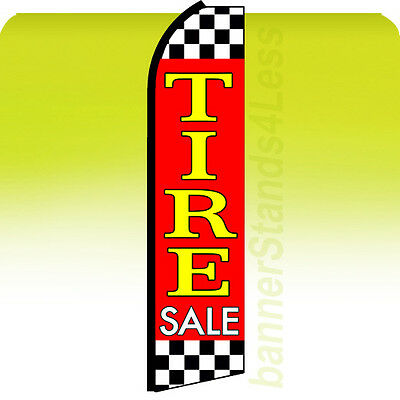 Tire Sale Swooper Flag Feather Flutter Banner Sign 11.5 - Checkered Rz