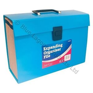 21 Pocket Expanding Box File Organiser A4  Documents Paper Foolscap Folder BLUE