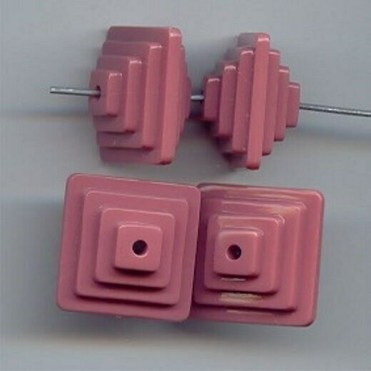 12 VINTAGE PINK ACRYLIC 18x12mm. SQUARE 3-D FANCY DECO BEADS 6592
