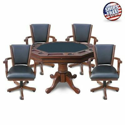 (Poker Game Table And Chairs Set Professional Cards Play Dining Room Furniture)