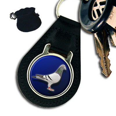 PIGEON RACING, DOVE, TAUBE, PALOMA BIRD LEATHER KEYRING / KEYFOB GIFT