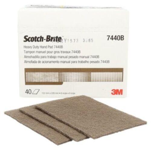 "40 Each Bulk 3M Scotch-Brite 7440B 6""x9"" Heavy Duty Hand Pad 18451"