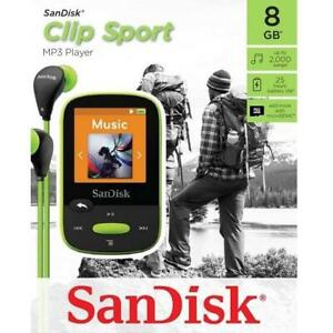NEW SANDISK 8GB MP3 PLAYER SDMX24-008G-G46L 240646017 CLIP SPORT LIME WITH LCD SCREEN AND MICROSDHC CARD SLOT