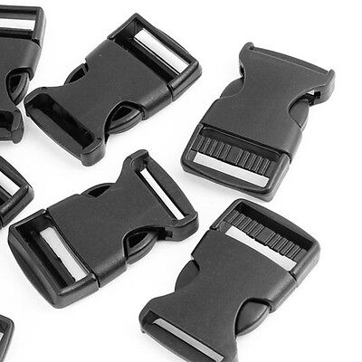 "10 Pcs 1"" 2.5CM Width Plastic Safety Quick Release Buckles Black AD"