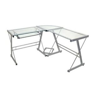 Glass L-shaped desk