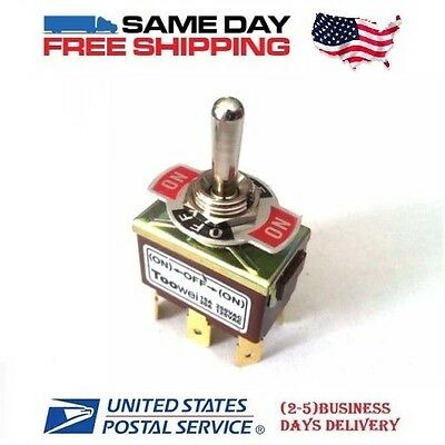 (Momentary DPDT ~ Double Pole Double Throw 6-Pin (ON-OFF-ON) 20amp Toggle Switch)