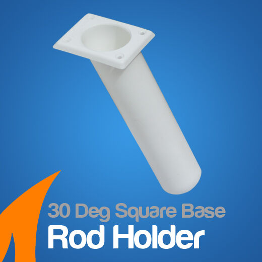 Rod Holder 30 deg Flush Mount Square Base White