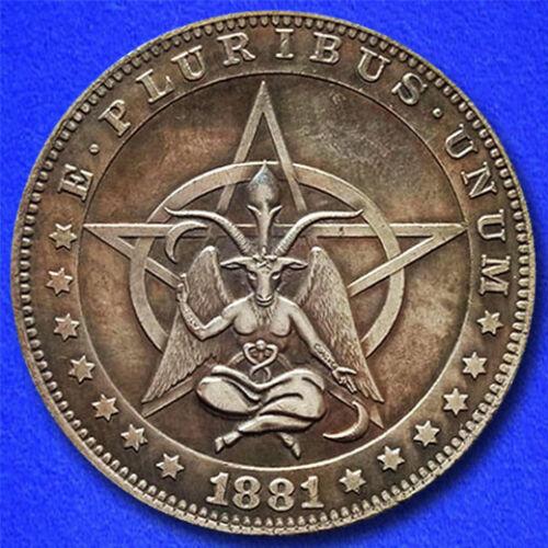 "Pentagram Baphomet ""Hobo Nickel"" on Morgan Dollar Coin **"