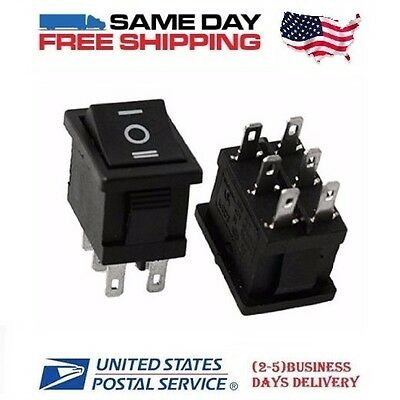 2 x MINI DPDT ~ Double Pole Double Throw 6-Pin (ON-OFF-ON) 10amp Rocker Switches