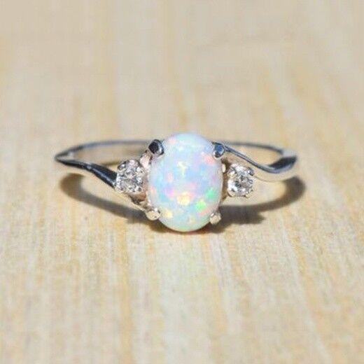 Charm Argent 925 Blanc Opale de feu demande en mariage Femmes Bijoux Anneau Sz6-10