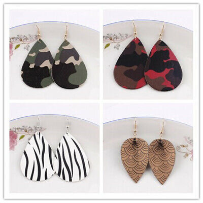 Fashion Camouflage Pu Leather Teardrop Earrings for Women Unique Leaf - Camouflage Jewelry