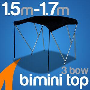 3 Bow 1.5m-1.7m Black Boat Bimini Top Canopy Cover w/ Rear Poles & Sock