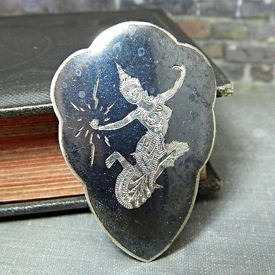 Vintage Siam Niello Black Enamel Sterling Silver Mekala Dress Clip