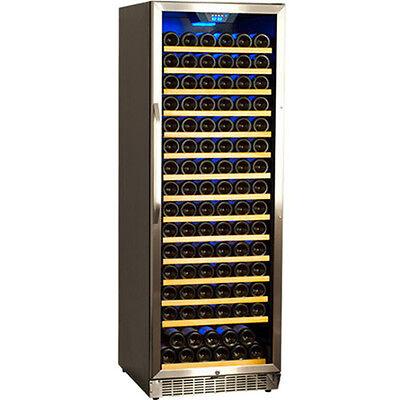 166 Bottle Compact Built-In Wine Cooler, Stainless Steel Glass Door Refrigerator
