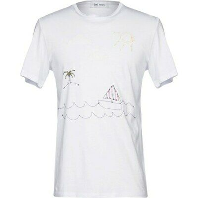 BNWT Jimi Roos Made in Italy Embroidered T SHIRT Woman Boat Palm Sailing Sea S M