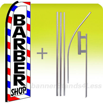 Barber Shop - Swooper Flag 15 Kit Feather Banner Sign - White Boxed Bq