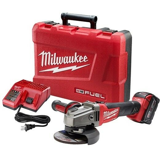 Milwaukee 2781-21 M18 FUEL 4-1/2 / 5 Grinder, Slide Switch Lock-On 1 Battery Kit