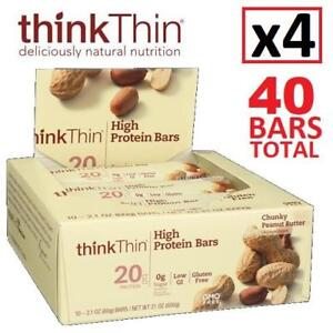 4 NEW THINK THIN PROTEIN BARS 10 CT 231505380 4 BOXES OF 10 COUNT BAR CHUNKY PEANUT BUTTER SNACKS EXP JAN 16 2019