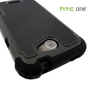 Heavy Duty Tough Cover Skin Silicone Hard Case for HTC ONE X XL Black