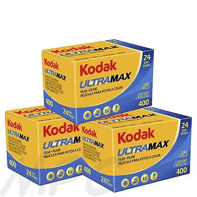 3 Rolls Kodak UltraMax Gold 400 135-24 Color Negative Print Film FRESH DATED