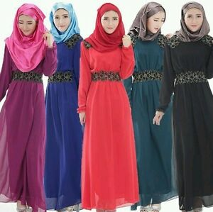 *UK SELLER Kaftan Abaya Jilbab Islamic Muslim Bow Long Sleeve Vintage Maxi Dress