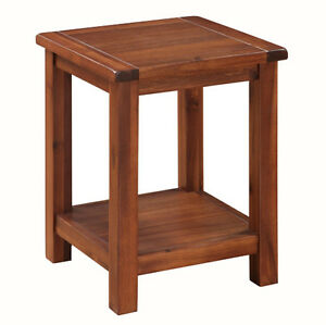 prussia acacia lamp table solid dark wood end table square lamp table ebay. Black Bedroom Furniture Sets. Home Design Ideas