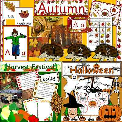 AUTUMN teaching resources CD + FREE Halloween and Harvest Festival -EYFS, KS1 - Halloween Resources
