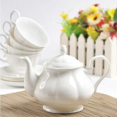 British White Fine Bone China Teapot Coffee Pot 950ml