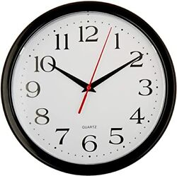 Wall Clock - Round Black Frame - Battery Operated - White Face - 10 Inch