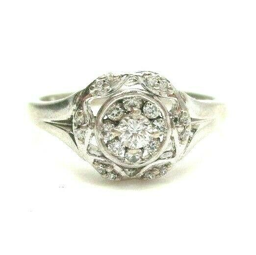 Vintage Sterling Silver Diamond Cluster Right Hand Ring