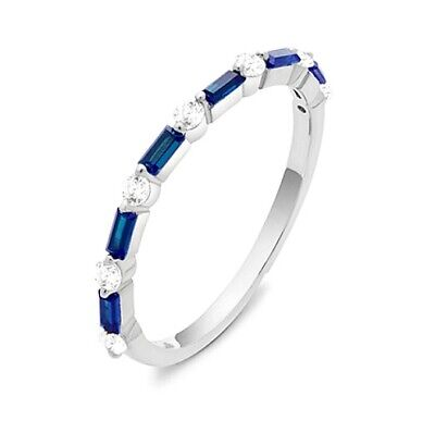 Sterling Silver Sapphire Baguette+Round Clear 5A CZ Stackable Band Ring Guard
