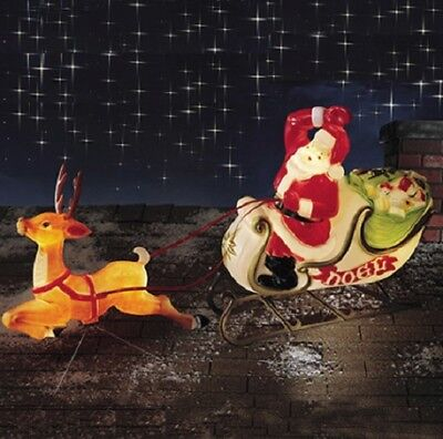 6' Santa Reindeer Sleigh Lighted Stroke Mold Put Outdoor Christmas Yard Decor