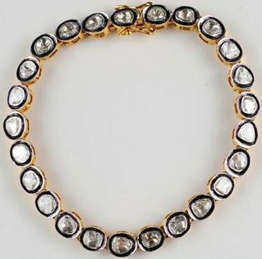Vintage Style 3.75Ct Natural Antique Cut Diamond Silver Tennis Bracelets Jewelry