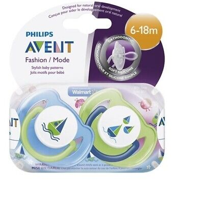 Philips Avent 6-18 Months BPA Free, Stylish Baby Boy Patterns Pacifiers, 2 Pack