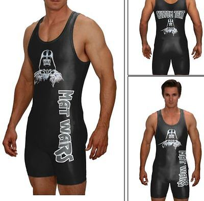 (Wrestling singlet MAT WARS with custom text area on the back included in price)