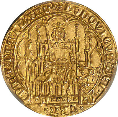 Flanders Louis II de Male (1346-84) Gold Chaise d'Or PCGS MS-63 Gold Shield