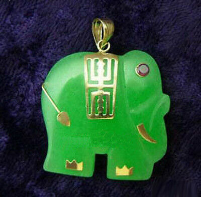 Green Jade Yellow Gold Plated Red Ruby Eyes Elephant Pendant and Necklace for sale  Shipping to Canada