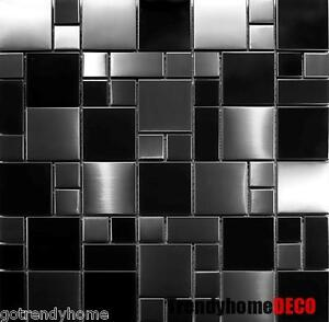 sample unique black stainless steel pattern mosaic tile