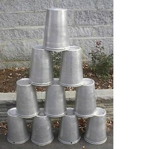 Lot of 10 Maple Syrup Aluminium  Sap Buckets READY TO USE TO GATHER SAP!!