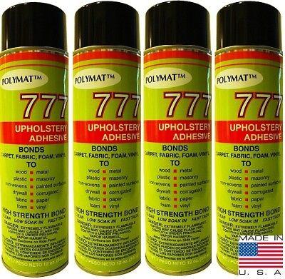 Qty 4 12oz Cans Of Polymat 777 Spray Adhesive Glue