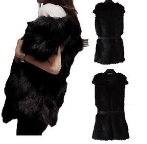 Ladies-Long-Faux-Fur-Waistcoat-Vest-Gilet-Outerwear-Black-White-8-10-12-14-16