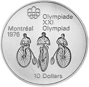 1974 CANADIAN MONTREAL OLYMPIC CYCLING 10 DOLLAR SILVER COIN