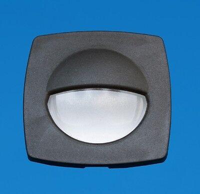 LED Boat/Caravan Light - Square Courtesy - Black Surround - Amber LEDs - 12V