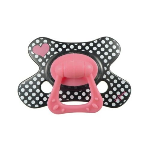 BNIB+%2ADifrax%2A+Black+Dotty+and+Hearts+soother+dummy+pacifier+NATURAL+12m%2B