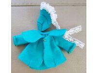 1:12 handmade dolls house felt jacket & bonnet set aqua ooak