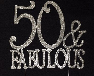 Silver Rhinestone 50 & Fabulous 50th Birthday Party Cake ...