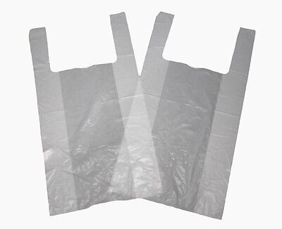 Plastic Large White Vest Carrier Bags 11x17x21